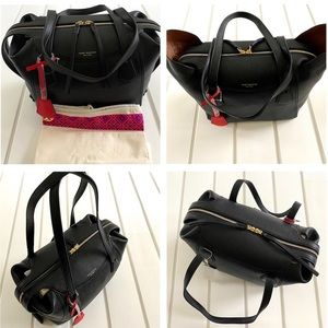 Tory Burch Black Pebbled Leather Perry Satchel